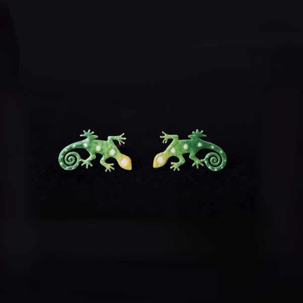 náušnice zelená ještěrka