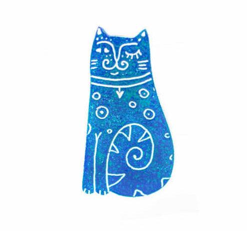 smaltovaná kočka, brož