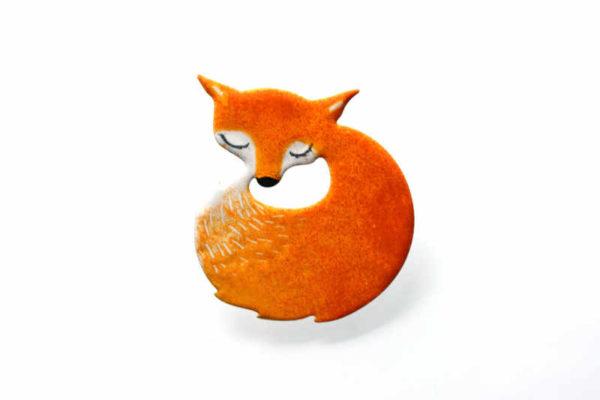 Brož liška oranžová ručně malovaná