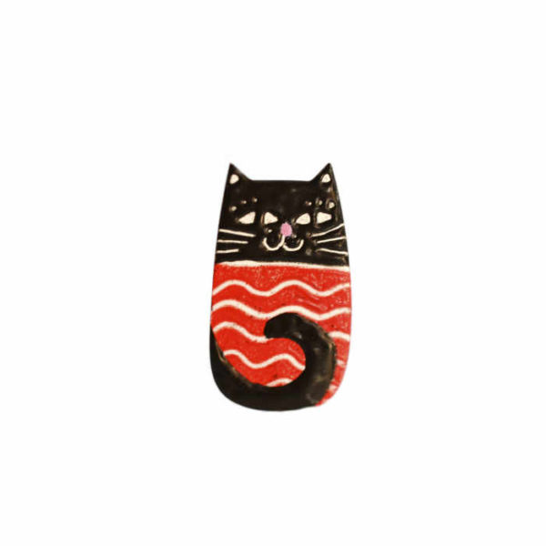 smaltovaná kočičí brož