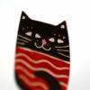 smaltovaná kočička brož