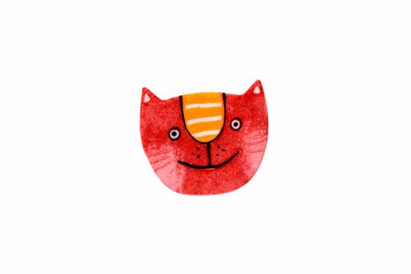 červená kočka brož hlava