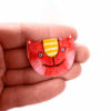 červená kočka smaltovaná brož