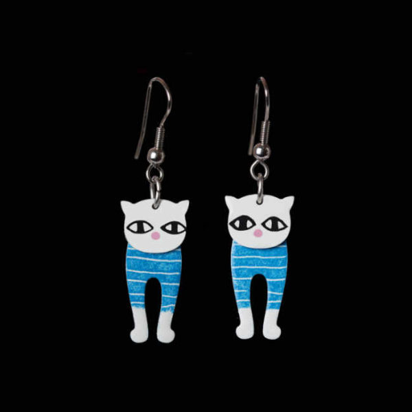 modré pruhované retro náušnice kočky