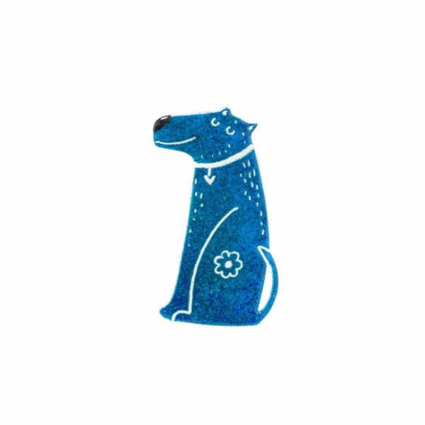 modrý pes smaltovaná handmade brož