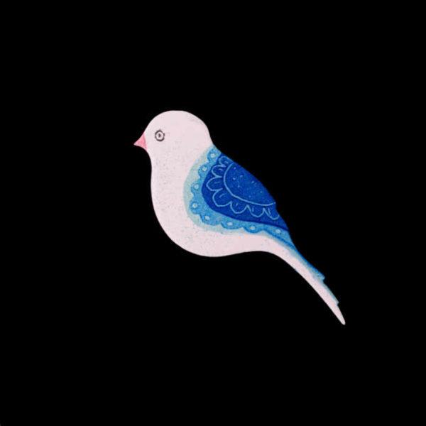 smaltovaná brož ptáček