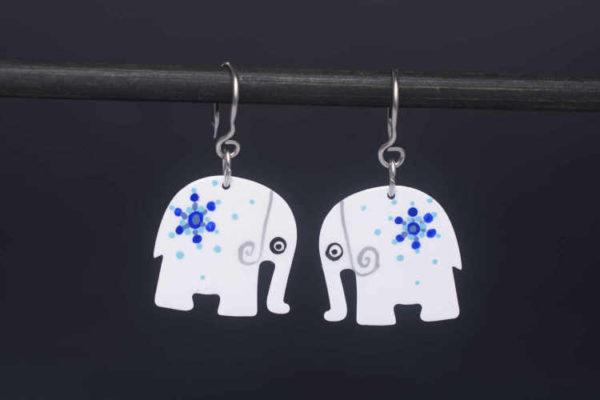 ilustrované náušnice sloni smalt