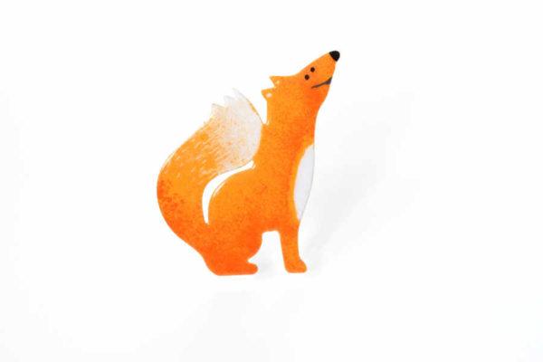 smaltovaná handmade brož liška