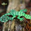 zelená ještěrka brož