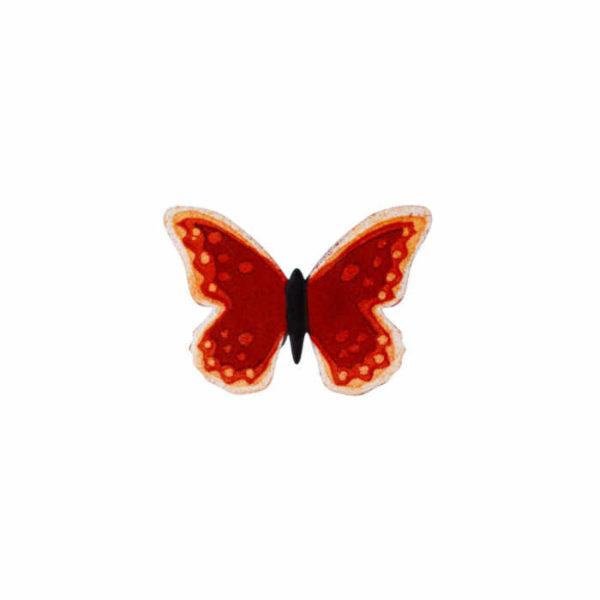 červený motýl smaltovaná brož