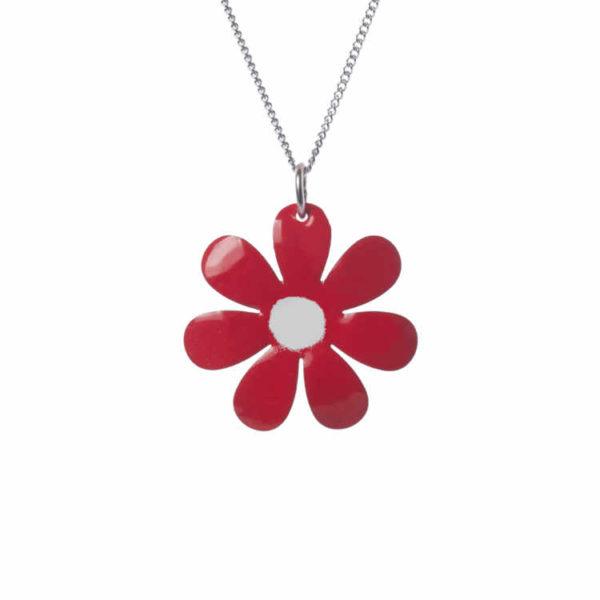 červená květina smaltovaný přívěšek