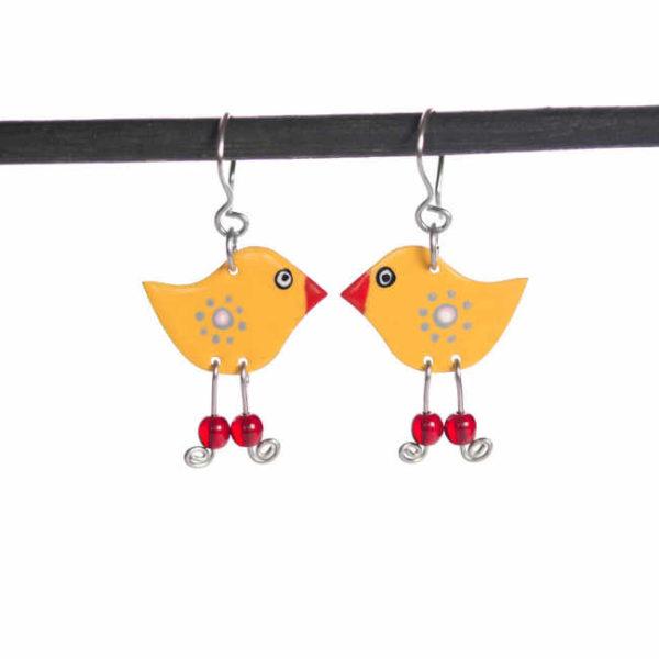 žlutí ptáci náušnice