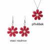 červené smaltované květiny náušnice vzorník