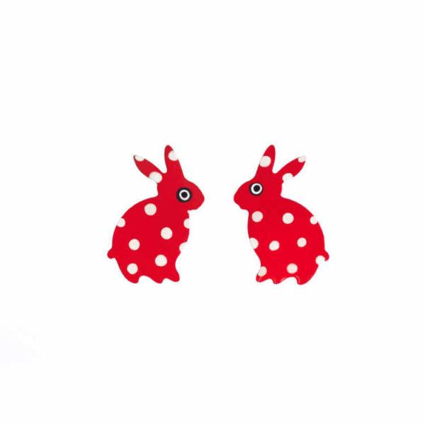 červené retro naušnice zajíčci