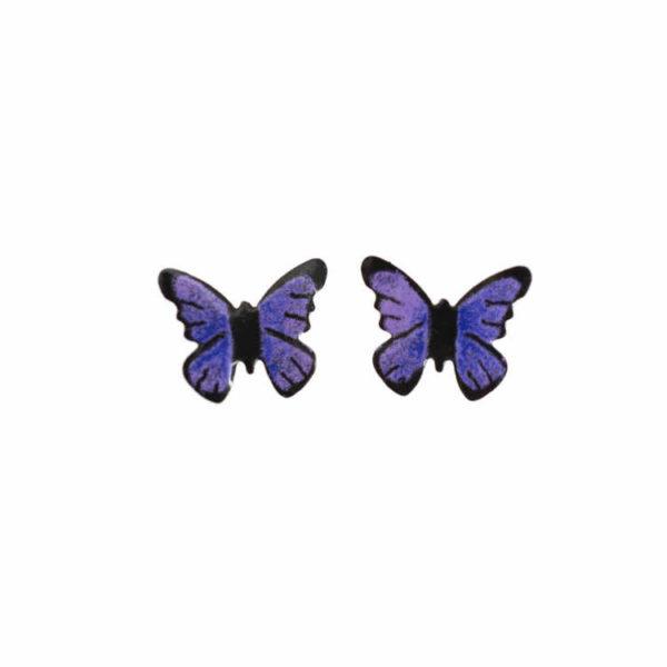 náušnice fialoví motýli