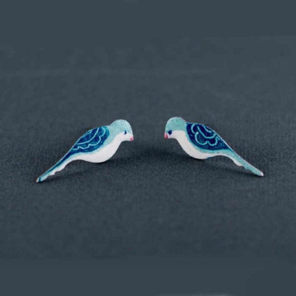 Modří folklorní ručně malovaní ptáčci náušnice puzety