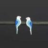 náušnice modří folklorni ptačci na tyčce