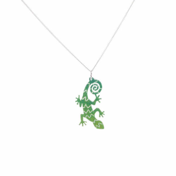 zelená ještěrka smaltovaný přívešek
