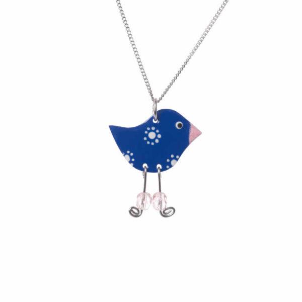 modrý folklórní ptáček s visacíma nohama z kuliček smaltovaný přívěšek
