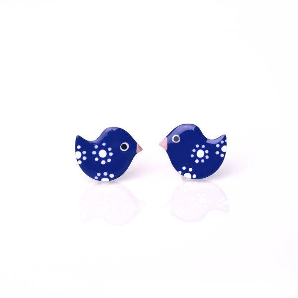 ptaci náušnice námořnická modrá