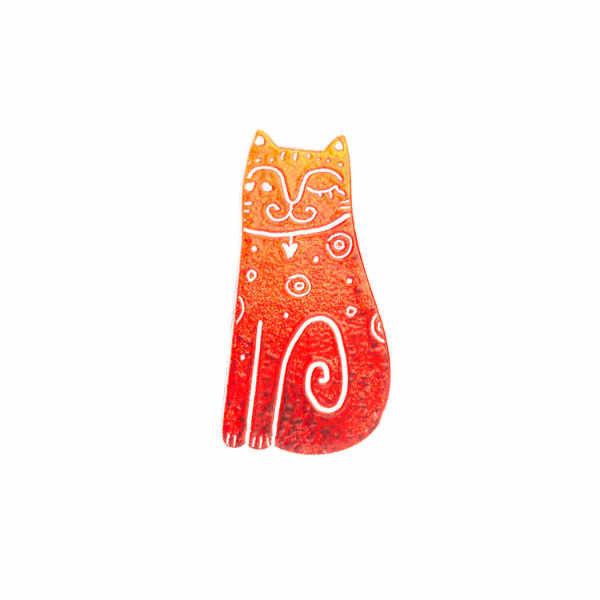 brož oranžovočervená kočka