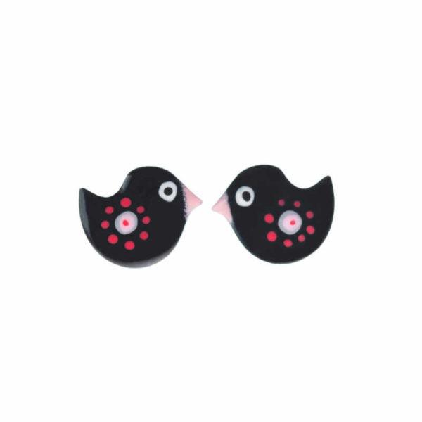 černé retro náušnice ptáčci