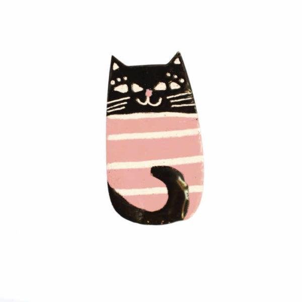 brož růžová kočka