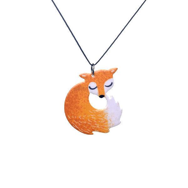 orange fox pendant on jewelry thread