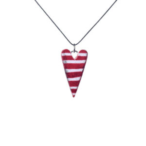 red heart pendant with stripes