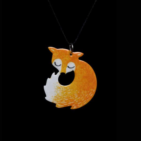 smaltovaný přívěšek liška