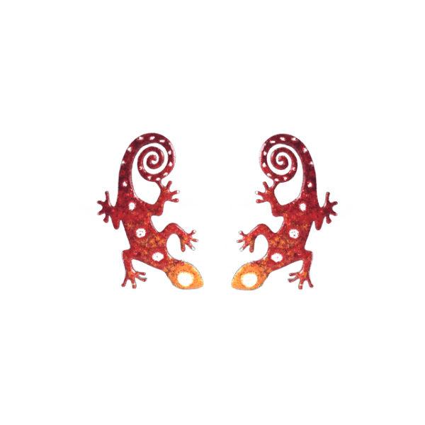 červenooranžové ještěrky náušnice