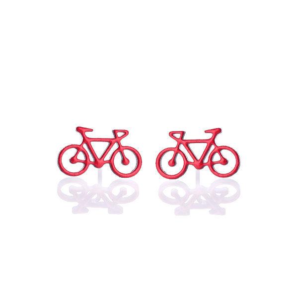 červené kola náušnice